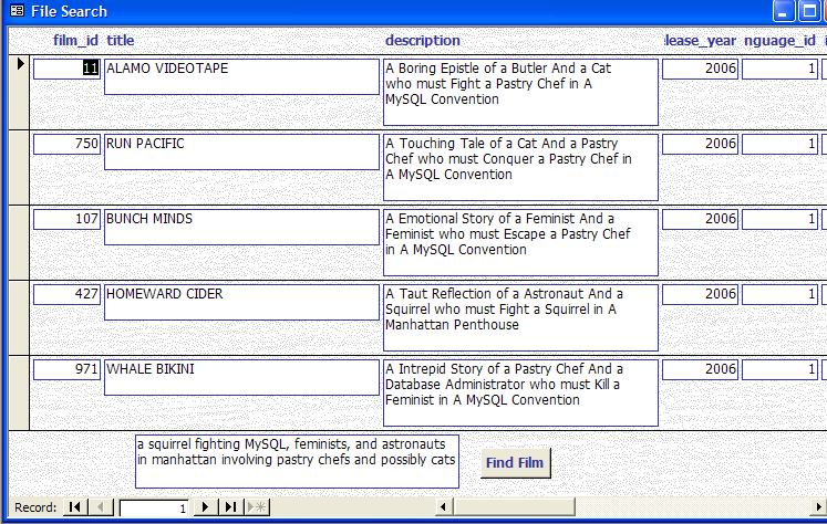 TSearch form in MS Access