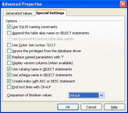 OOBase DB Advanced Settings