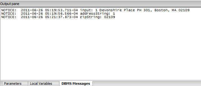 DBMS Messages Output pane