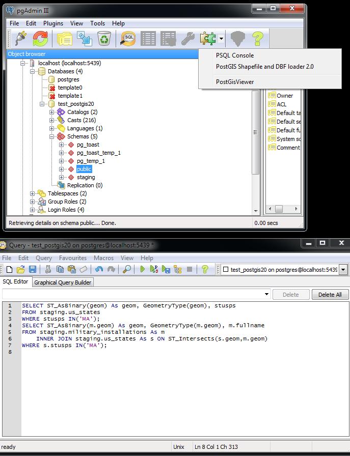 PgAdmin III 1 13 - change in plugin architecture and PostGIS Plugins