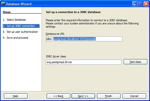 OO Base JDBC Database setup screen