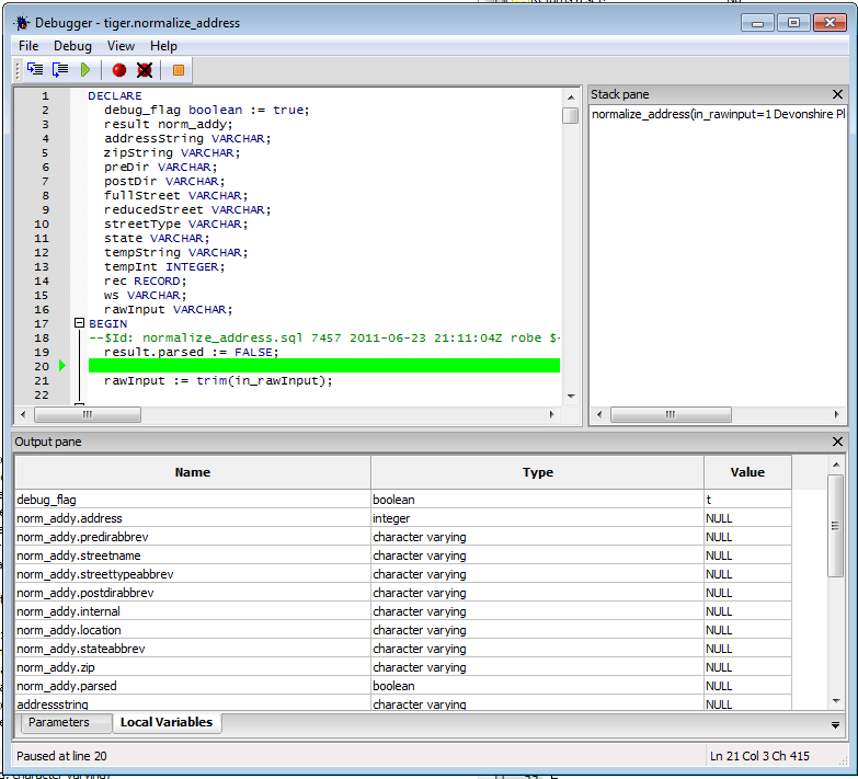 Using PgAdmin PLPgSQL Debugger - Postgres OnLine Journal